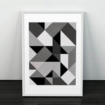 Abstract art, Triangle pattern print, Geometric decor, Black and white print, , Nordic design, Minimalist print, Modern print, 8x10, A3, A4