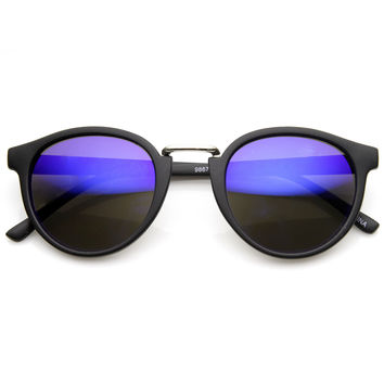 Dapper Flash Mirrored Lens Matte Black Round Horned Rim Sunglasses 9148