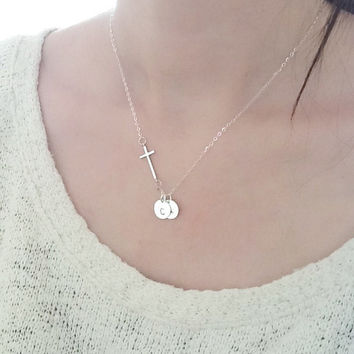 Customized initial sideways cross necklace, two Monogram Discs,Sterling Silver Necklace