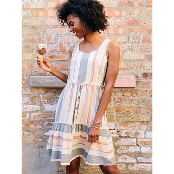 Mata Traders Mondrian Dress Pastel Stripes