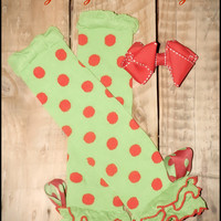 """Baby Leg Warmers  and Hair Bow Set For Christmas """"I'm No Grinch"""" , Leg Warmers Photography Prop  For Girls"""