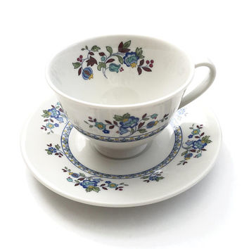 Royal Doulton Plymouth Tea Cup, Blue Maroon Yellow Floral Rim & Center, Footed Tea Cup English Bone China, Cup And Saucer, 1970's Vintage