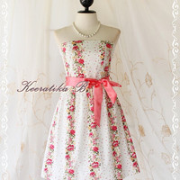 Mind - Sweet Cutie Floral Strapless Dress Spring Summer Sundress Party Bridesmaid Prom Wedding Dress