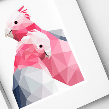 Galah, Pink galah, Geometric print, Original illustration, Animal print, Minimal art, Nursery wall art