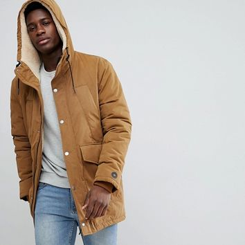 Esprit Teddy Lined Parka With Fishtail at asos.com