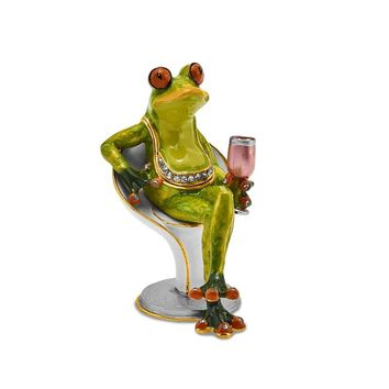 Bejeweled Vino Frog on Chair with Wine Glass Trinket Box