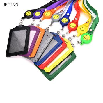 JETTING New ID Card Holder Smile Face Reel Lanyard Name Credit Card Holders Bank Card Neck Strap Card ID Holders Identity Badge