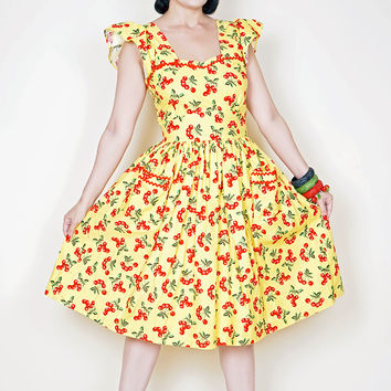 Loretta Dress in Yellow with red cherry print