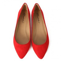 Breckelle's Talia-01s Pointy Suede Flats | MakeMeChic.com