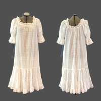 70s Dress 80s Dress/ Princess Kaiulani White Eyelet Dress, M/L