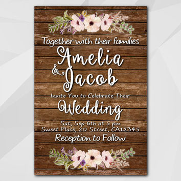 Watercolor Wedding Invitation, Rustic wood Invitation, Custom invitation, diy wedding, etsy wedding invitation XW022w