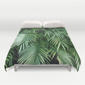 Jungle Palms - Duvet Cover, Tropical Beach Green Bedding, Surf Bohemian Chic Loft Home Bed Blanket Throw Cover. In Full / Queen / King Size