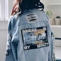 """Where Is My Mind?"" Ripped Denim Jacket"