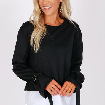 Layered Sweater Top Black