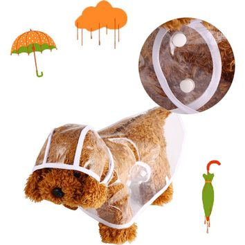 Fashion Pet Dog Raincoat Transparent Waterproof Outdoor Sportswear Clothing W/ Hat Puppy Dog Rain Coat Jackets Clothes Plus Size