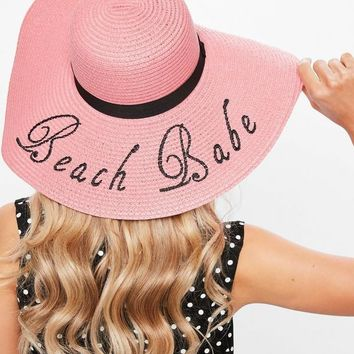 Missguided - Pink Emroidered Slogan Large Straw Hat