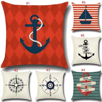Nautical Decor | Fine Linen Throw Pillow Covers with Ocean Inspired Designs