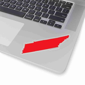 Tennessee State Shape Sticker RED