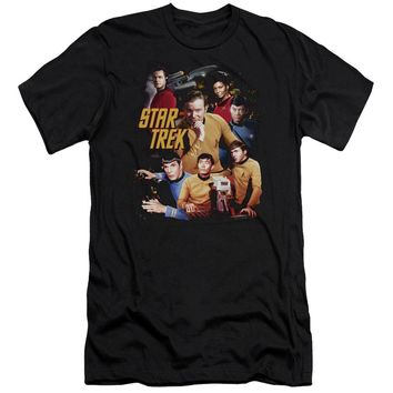 Star Trek - At The Controls Premium Canvas Adult Slim Fit 30/1 Shirt Officially Licensed T-Shirt
