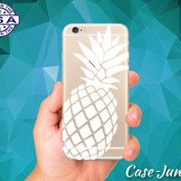 White Pineapple Cutout Fruit Summer Tropical Cute Case Cover For iPhone 5, iPhone 5C, iPhone 6, and iPhone 6 +, iPhone 6s, iPhone 6s Plus +
