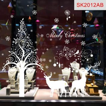 Christmas Decor Decal Window Glass Wall Stickers PVC Merry Xmas Deer&Sleigh Ride Snowflake Supplies Hogard