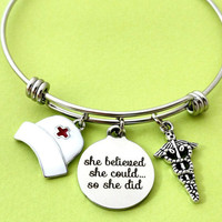 Registered nurse, Bangle, Bracelet, RN, Physician's assistant, Registered, Nurse, She believed, she could, so she did, Charm, Gift, Jewelry