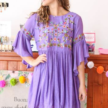 Summertime Sweetness Bell Sleeve Dress, Violet