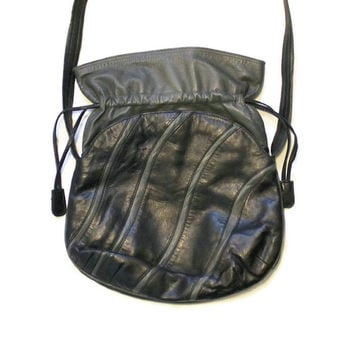 1980's Black And Gray Leather Purse, Charles Klein Purse, Black and Gray Shoulder Bag, Charles Klein Shoulder Bag, Leather Cross Body Bag