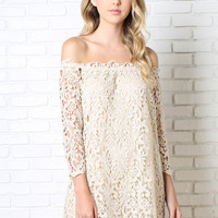 Sia Crocheted Off-the-Shoulder Dress