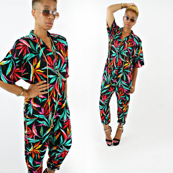 vintage 80s black RAINBOW oversized TROPICAL jumpsuit size M/L