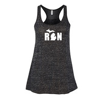 RUN MICHIGAN WOMENS RACERBACK TANK TOP