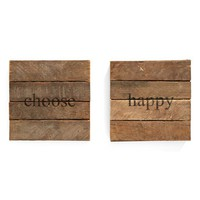 Second Nature By Hand 'Choose Happy' Wall Art (2-Pack)