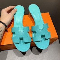 Hermes Fashion Women Leather Multicolor High Heels Slippers Sandals Shoes
