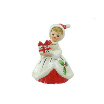 Josef Originals Christmas Girl w/ Present Bell, Vintage Holiday Home Decor, Black Eyes, Collectible Figurine, Gift