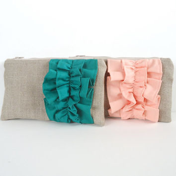 Peach Linen Burlap Ruffle Zipper Clutch - Bridesmaid Gift - Pastel Peach Wedding Bag