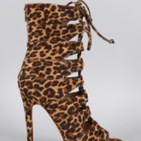 Women's Liliana Leopard Caged Lace Up Heel
