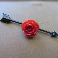 Rose Arrow Industrial Barbell Piercing Scaffold Earring Black Red Bar