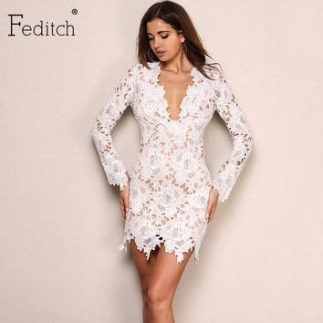 Feditch Winter New Lace Dress Women Long Sleeve Hollow Out Mini Party Dresses Elegant Women Sexy Dress Autumn Vestidos Mujer