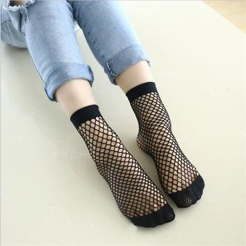 Chic Streetwear Women's Harajuku Candy Color Breathable Fishnet Socks.Sexy Hollow out Nets Socks Ladies Sweet Mesh Sox