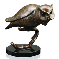 SPI Owl On Branch Brass and Marble Sculpture