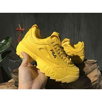 FILA Fashion Women Men Casual Running Sport Shoes Sneakers Yellow