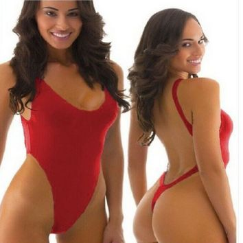 Brazilian Thong One Piece Swimsuit Backless Strap High Cut Push Up
