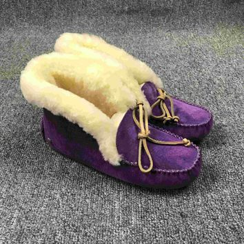 LFMON UGG 4806 Tall TODS Hogskin Sheepskin Women Men Fashion Casual Wool Winter Snow Boots Purple