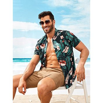 Men Tropical & Floral Print Shirt