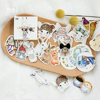 (45pcs/Box) Easter bunny rabbit Stickers Pack Kawaii Planner Scrapbooking Sticky Stationery Escolar School Supplies2017