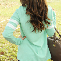 Don't Sweater It Top: Mint/White | Hope's