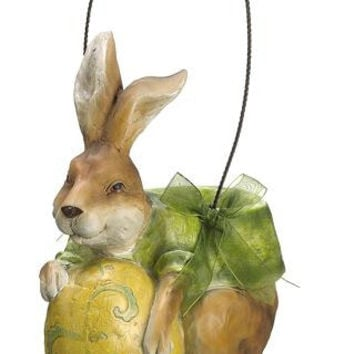Easter Bunny Decoration - Bunny Is Holding A Yellow Egg With Blue Details