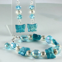 Czech Glass Butterfly Bracelet and Earring Set, Blue Zircon Ghost Matte, AB