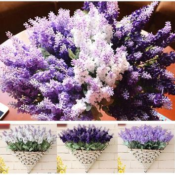 New Romatic Beauty Bouquet Artificial Lavender Silk Flower Lavenders For Home Wedding Garden Floral Decor