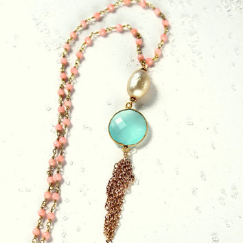 Pastel Necklace, Peach Pastel, Coral Turquoise, Aqua Pastel Necklace, Long Rosary Necklace Wire Wrapped, Angel Skin Coral, Tassel Bohemian